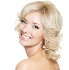 Portrait of happy blonde woman