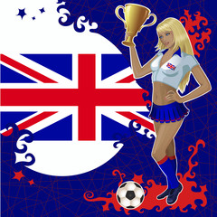 Vector football poster with girl and Great Britain flag