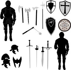 silhouette of medieval war elements - vector