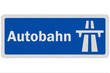 Photo realistic detailed 'Autobahn' sign, isolated on white