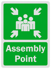 Photo realistic ' assembly point' sign, isolated on white