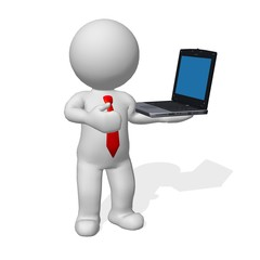 3d character business man standing with laptop