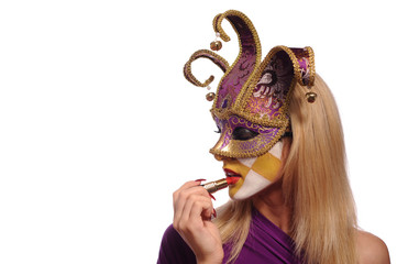 sexy woman in half mask