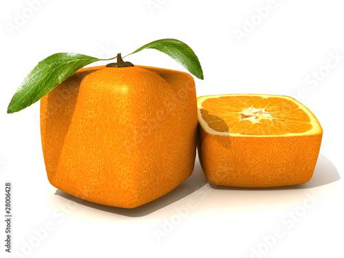 Fresh cubic orange and a half small