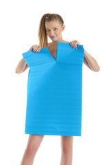Young woman with blue sheet of paper