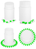 Set of capsule pills and white plastic bottle.