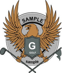 Eagle on an emblem holding golf stick and flag