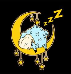 Little sheep sleeping on the moon