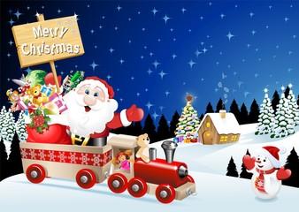 Babbo Natale sul Treno-Santa Claus on Train-Vector
