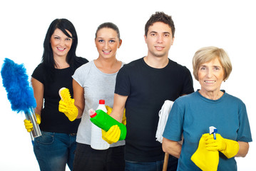 Cheerful team of cleaning people