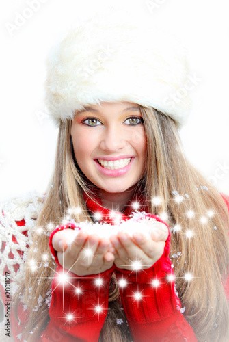 Christmas new year or winter vacation woman