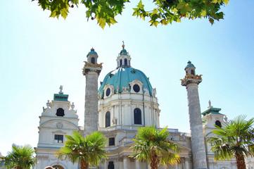 Detail of Karlskirche in Vienna, Austria