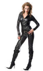 beauty woman in leather overalls