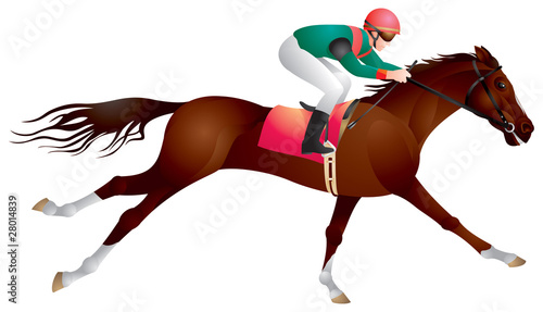 Derby, horse and rider in vector