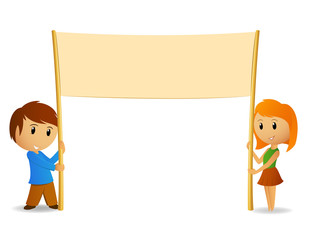 Vector cartoon boy and girl with blank poster or banner