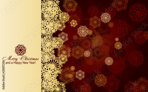 Brown christmas card with golden snowflakes, vector