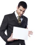 entrepreneur incertain avec annonce sur écriteau poster