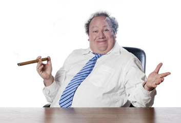 business man fier fumant son cigare