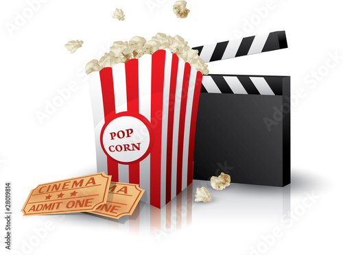 Popcorn and movie tickets with clapper board on white - 28019814