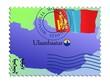 Ulaanbaatar - capital of Mongolia. Vector stamp