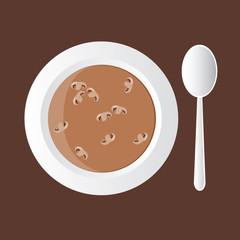 tasty mushroom soup in white bowl