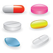 set of different pills and capsules
