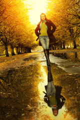 Woman at autumn walking