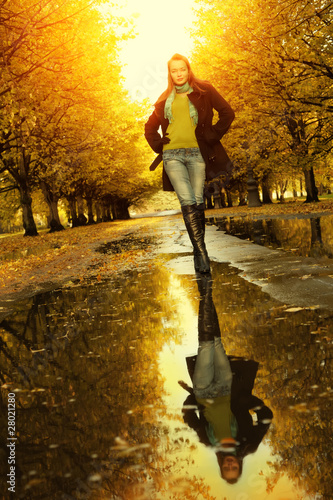 Woman at autumn walking