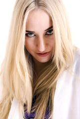 Portrait of a young seductive blonde
