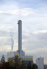 High chimney in a power plant