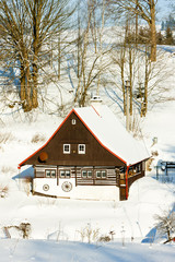 cottage in winter, Bartosovice in Orlicke Mountains, Czech Repub