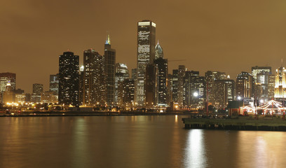 Chicago skyline and Michigan Lake at night