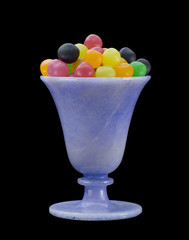 Multicolored Sweets in a Blue Glass 01