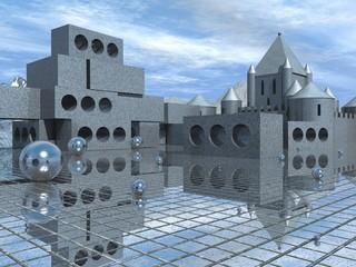 Строительные блоки и средневековый замок