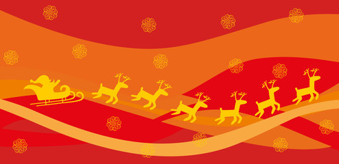 Santa and deer on red background