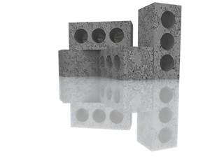 Строительные блоки на белом фоне