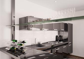 Moderne schwarze Küche Interior 3d render