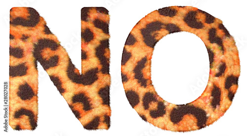 Leopard fur N and O letters isolated