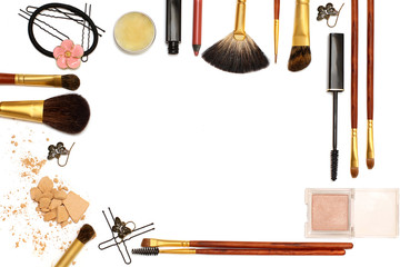 Background of women's Accessories: cosmetics, jewelry, hairpins