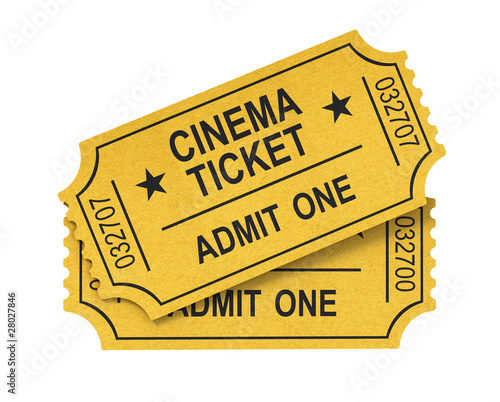 Cinema ticket on white background