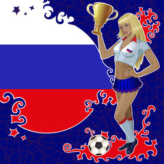 Vector football poster with girl and Russian  flag