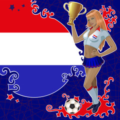 Vector football poster with girl and Netherlandish  flag