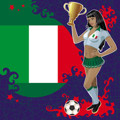 Vector football poster with girl and Italian flag