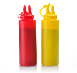 Bottles of Ketchup and Mustard.