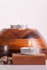Tea Candle on Large Wood Stand
