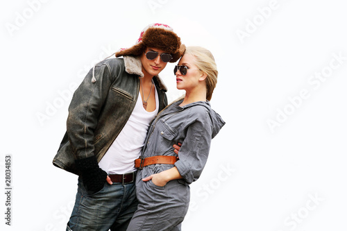 Trendy urban couple with horizontal copy space