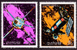 North Korean Postage Stamp Space Themed Satellites Milky Way