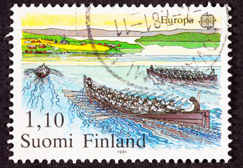 Finland Postage Stamp Boat Crew Sweep Rowing Racing Water