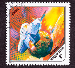 Hungarian Postage Stamp Space Ship Around Phobos, Martian Moon