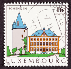 Postage Stamp Schengen Agreement Village Commune Tower House